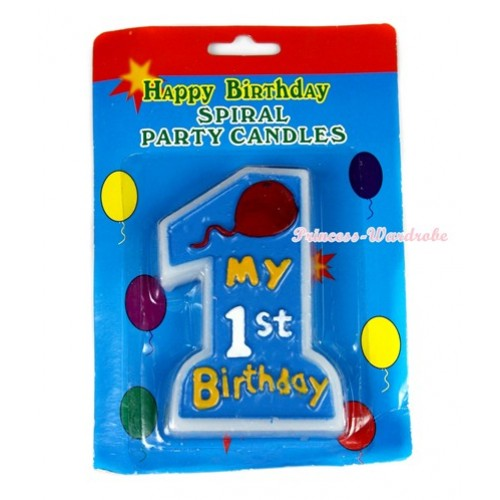 1 ST Birthday Number Light Blue Party Decoration Candles C143