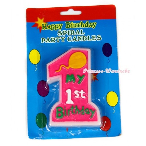 1ST Birthday Number Hot Pink Party Decoration Candles C144