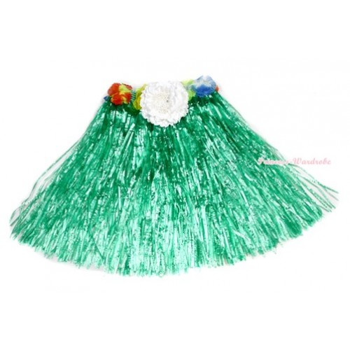Green Hot Hawaiian Tropical Luau Party Dance Flower Grass Pettiskirt With White Peony B180