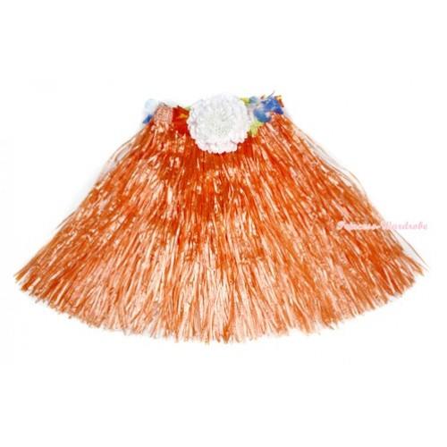 Orange Hot Hawaiian Tropical Luau Party Dance Flower Grass Pettiskirt With White Peony B184