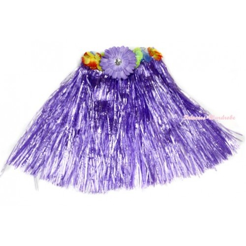 Dark Purple Hot Hawaiian Tropical Luau Party Dance Flower Grass Pettiskirt With Dark Purple Flower B185