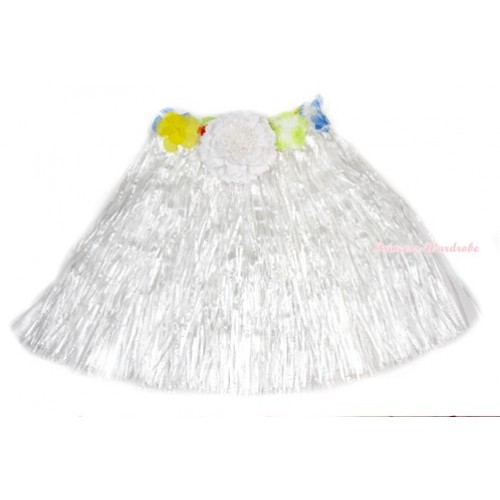 White Hot Hawaiian Tropical Luau Party Dance Flower Grass Pettiskirt With White Peony B188