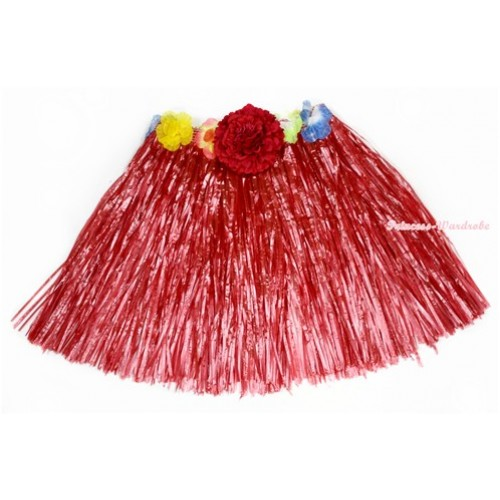 Red Hot Hawaiian Tropical Luau Party Dance Flower Grass Pettiskirt With Red Peony B189