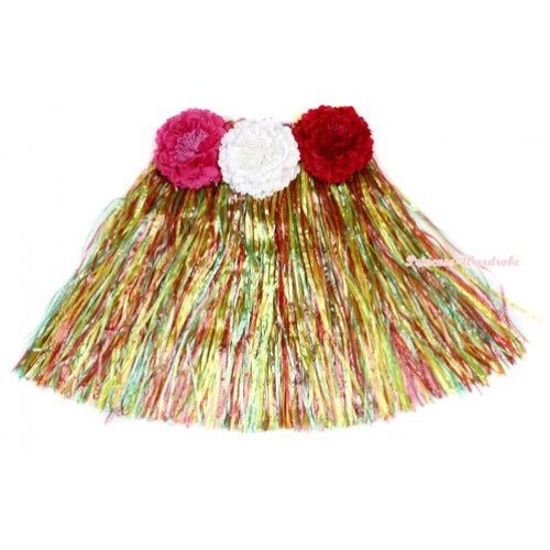 Passion Rainbow Hot Hawaiian Tropical Luau Party Dance Flower Grass Pettiskirt With Hot Pink & White & Red Peony B190