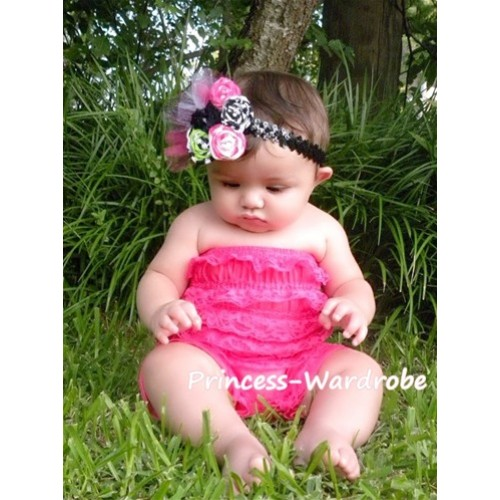 Hot Pink Lace Ruffles Petti Rompers LR07