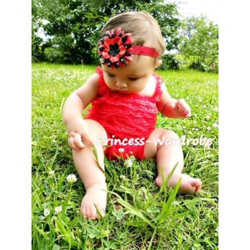 Red Lace Ruffles Petti Rompers with Straps LR12