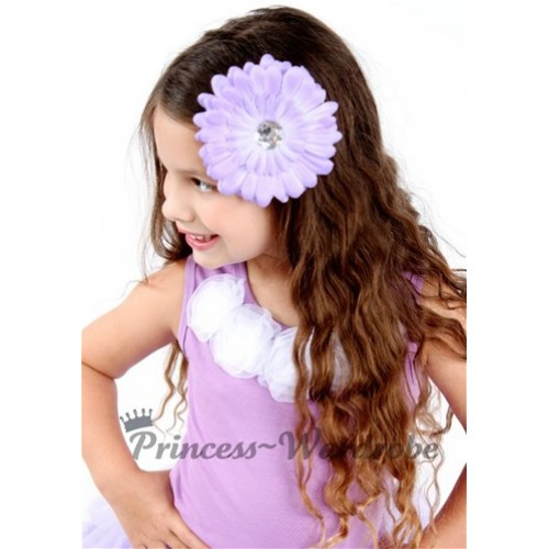Lavender Tank Tops with White Rosettes TN109