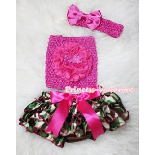 Camouflage Patterns Layer Panties Bloomer with Hot Pink Peony Hot Pink Crochet Tube Top and Bow Headband 3PC Set CT262