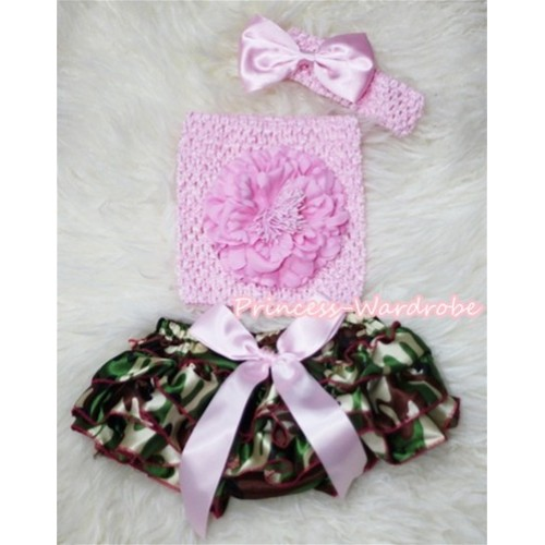 Camouflage Patterns Layer Panties Bloomer with Light Pink Peony, Crochet Tube Top and Bow Headband 3PC Set CT264