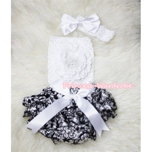 Damask Layer Panties Bloomer with Pure White Peony, Crochet Tube Top and Bow Headband 3PC Set CT267