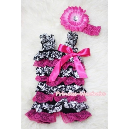 Damask Hot Pink Layer Chiffon Romper with Hot Pink Bow & Straps with Headband Set RH61