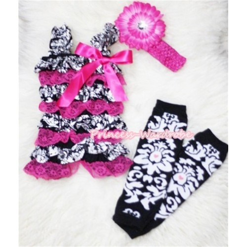 Damask Hot Pink Layer Chiffon Romper and Leg Warmer with Hot Pink Bow & Straps with Headband Set RH71