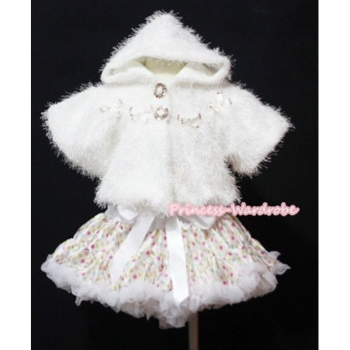 Pure White Hairy Soft Fur with Mini Bow Shawl Coat & White Rainbow Polka Dots Pettiskirt SH101