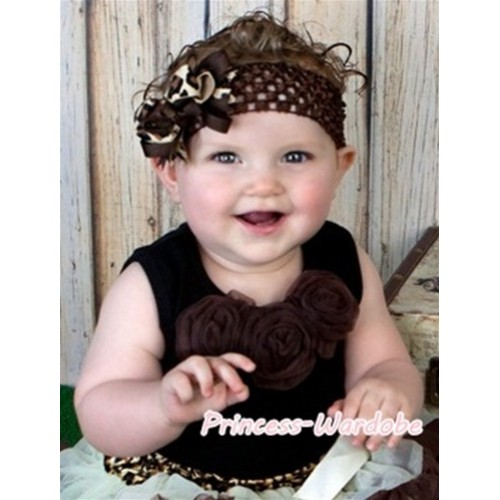 Black Baby Pettitop with Brown Rosettes NT122