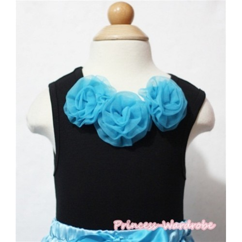 Black Baby Pettitop & Peacock Blue Rosettes NT151