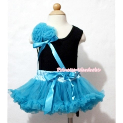 Black Baby Pettitop & Bunch of Peacock Blue Rosettes & Ribbon with Peacock Blue Baby Pettiskirt NG421
