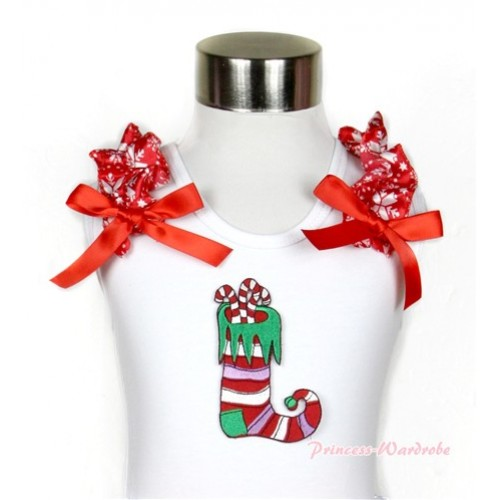 Xmas White Tank Top With Christmas Stocking Print with Red Snowflakes Ruffles & Red Bow TB437