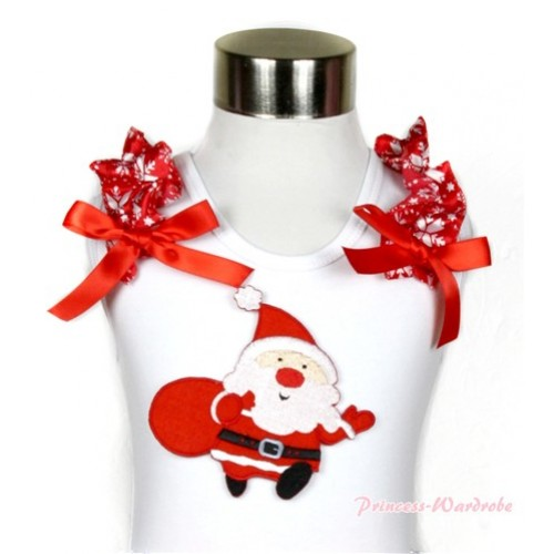 Xmas White Tank Top With Gift Bag Santa Claus Print with Red Snowflakes Ruffles & Red Bow TB443