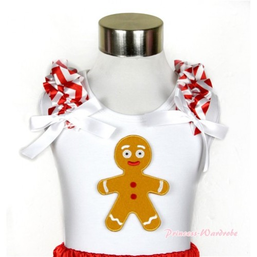 Xmas White Tank Top With Brown Gingerbread Man Print with Red White Wave Ruffles & White Bow TB463