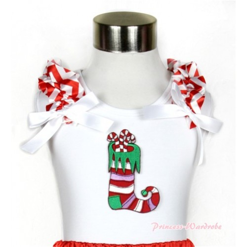 Xmas White Tank Top With Christmas Stocking Print with Red White Wave Ruffles & White Bow TB468