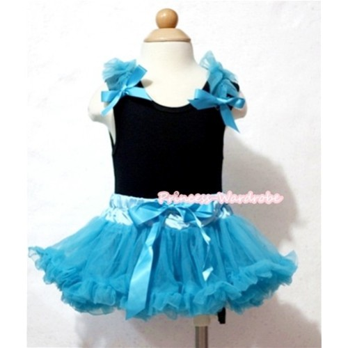 Black Baby Pettitop & Peacock Blue Ruffles & Bows with Peacock Blue Baby Pettiskirt NG522