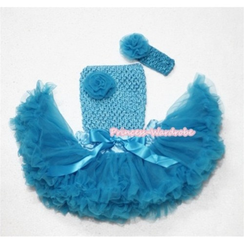 Peacock Blue Baby Pettiskirt, Peacock Blue Rose and Crochet Tube Top, Peacock Bue Headband with Rose 3PC Set CT243