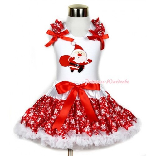 Xmas White Tank Top with Gift Bag Santa Claus Print with Red Snowflakes Ruffles & Red Bow & Red Snowflakes Pettiskirt MG721