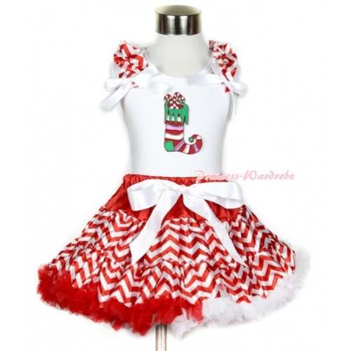 Xmas White Tank Top with Christmas Stocking Print with Red White Wave Ruffles & White Bow & Red White Wave Pettiskirt MG745