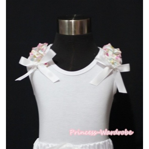 White Rainbow Polka Dots Ruffles White Bows White Tank Top T413