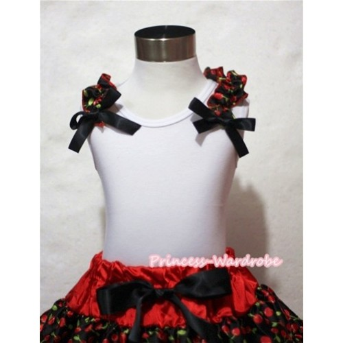 Black Cherry Ruffles Black Bow White Tank Top T414