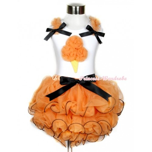 Halloween White Tank Top With Orange Ruffles & Black Bow & Orange Rosettes Ice Cream Print With Black Bow Orange Petal Pettiskirt MG735