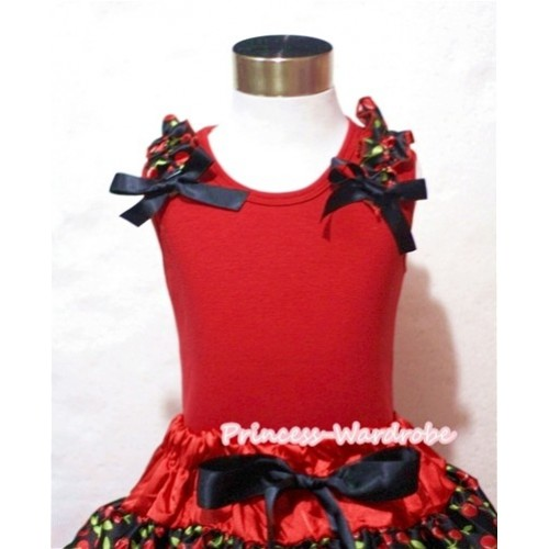 Black Cherry Ruffles Black Bow Red Tank Top T431