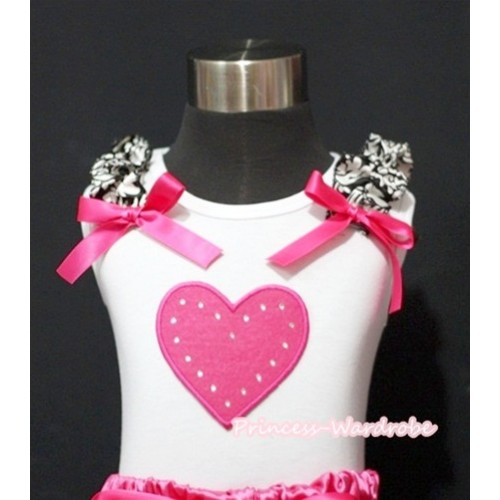 Hot Pink Heart White Tank Top with Damask Ruffles Hot Pink Bows TM201
