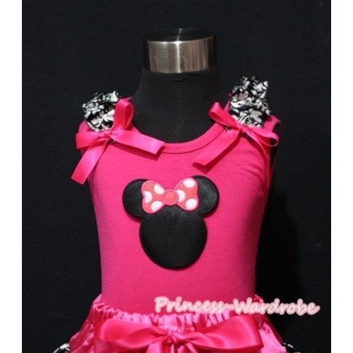 Hot Pink Minnie Print Hot Pink Tank Top with Damask Ruffles and Hot Pink Bow T451