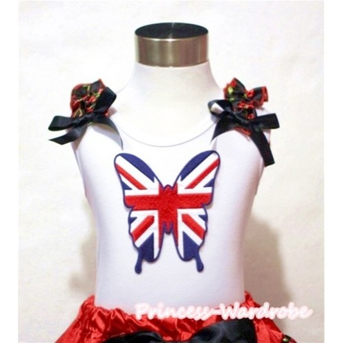 Patriotic British Flag Butterfly White Tank Top with Black Cherry Ruffles Black Bows TB481