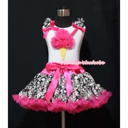 Hot Pink Damask Pettiskirt & Hot Pink Ice Cream White Tank Top with Damask Ruffles and Hot Pink Bows ML046
