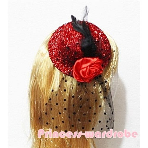 Black Feather and Polka Dots net Sparkle Red Hat Clip with Red Rose  H122