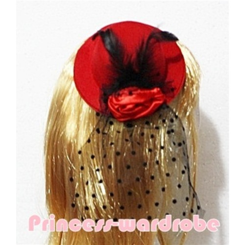 Black Feather and Polka Dots net Red Hat Clip with Red Rose H121