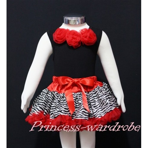 Black Newborn Pettitop & Red Rosettes with Red Zebra Newborn Pettiskirt NG140