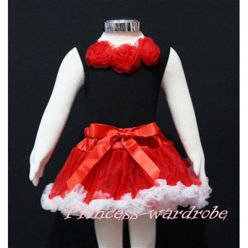 Black Baby Pettitop & Red Rosettes with Red White Baby Pettiskirt NG142