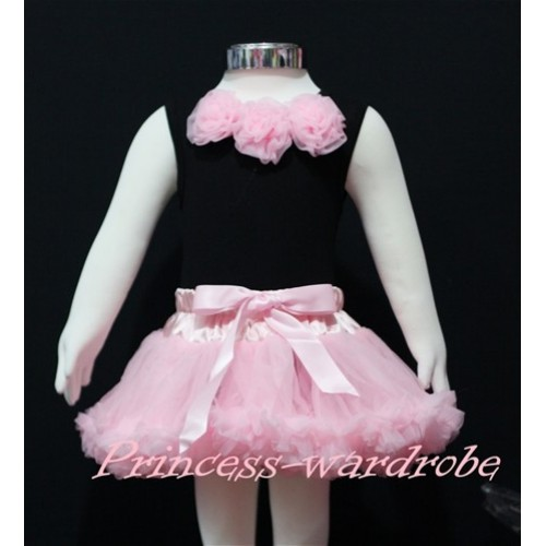 Black Baby Pettitop & Light Pink Rosettes with Light Pink Baby Pettiskirt NG145
