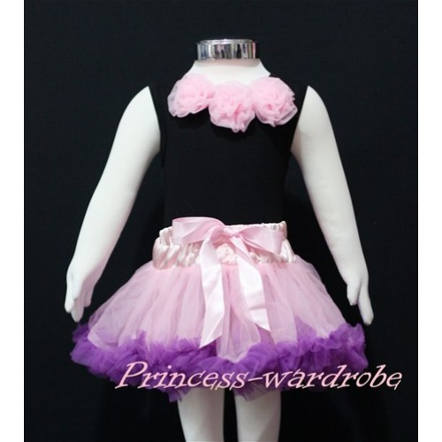 Black Baby Pettitop & Light Pink Rosettes with Light Pink Dark Purple Baby Pettiskirt NG149