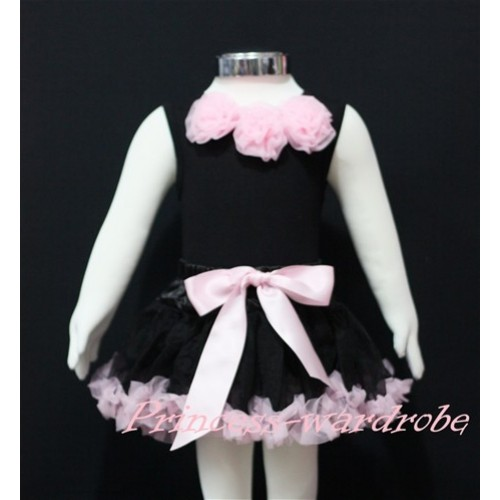 Black Newborn Pettitop & Light Pink Rosettes With Black Light Pink Newborn Pettiskirt  NG152