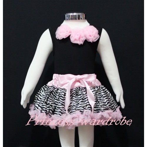 Black Newborn Pettitop & Light Pink Rosettes with Light Pink Zebra Newborn Pettiskirt NG154
