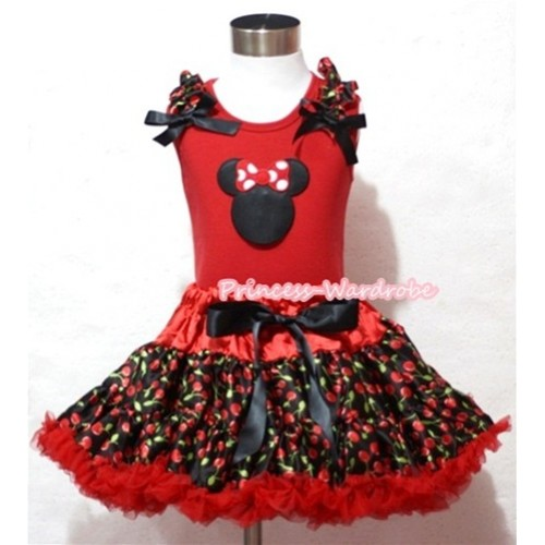 Hot Red Black Cherry Pettiskirt & Minnie Print Red Tank Top with Black Cherry Ruffles and Black Bows MM201