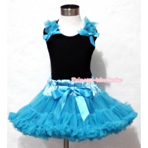 Peacock Blue Pettiskirt with Matching Black Tank Top with Peacock Blue Bows and Ruffles MW074