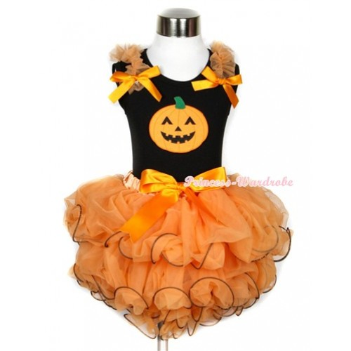 Halloween Black Tank Top With Orange Ruffles & Orange Bows & Pumpkin Print With Orange Bow Orange Petal Pettiskirt MW248