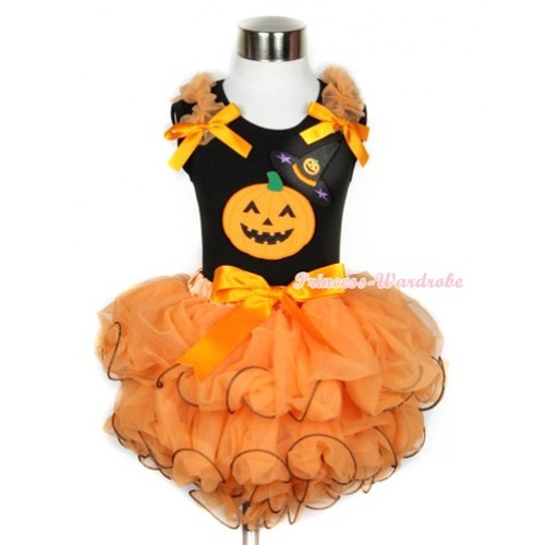Halloween Black Tank Top With Orange Ruffles & Orange Bows & Pumpkin Witch Hat & Pumpkin Print With Orange Bow Orange Petal Pettiskirt MW249