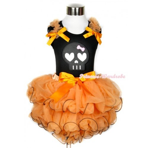 Halloween Black Tank Top With Orange Ruffles & Orange Bows & Black Skeleton Print With Orange Bow Orange Petal Pettiskirt MW250
