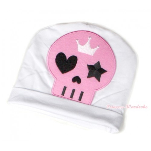 Halloween White Cotton Cap with Light Pink Skeleton Print TH391